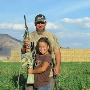 Raegan and I on Pronghorn hunt. Rae shot her at 150 yards with 223 double lung 1 shot.